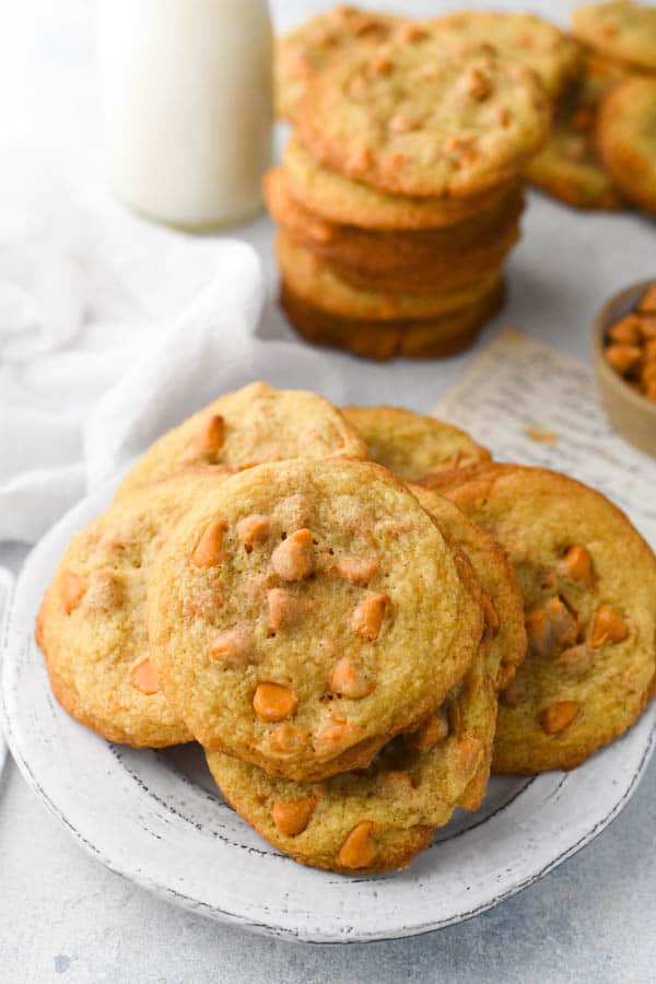 Plate of old fashioned butterscotch cookies recipe
