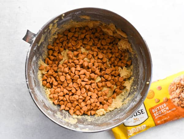 Overhead image of soft butterscotch cookie dough in a mixing bowl
