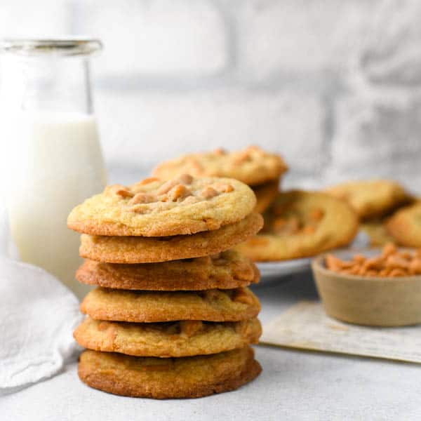 Square image of a stack of the best butterscotch chip cookie recipe