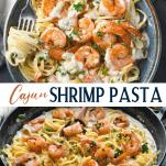 Long collage image of Cajun Shrimp Pasta