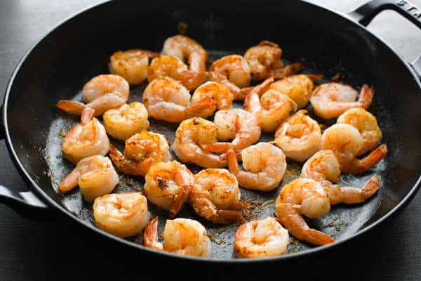 Searing shrimp in a cast iron skillet