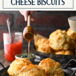 Adding honey to a plate of cheese biscuits with text title box at top