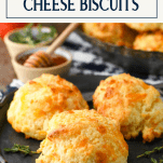 Close up side shot of cheese biscuits with text title box at the top