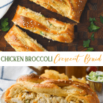 Long collage image chicken and broccoli crescent braid