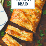 Overhead image of chicken broccoli crescent braid with text title overlay