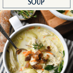 Close overhead image of a bowl of creamy chicken gnocchi soup with text title box at top