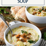 Olive Garden Chicken Gnocchi Soup served in white bowls with text title box at top