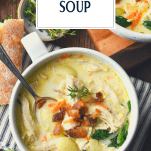 Overhead shot of Olive Garden Chicken Gnocchi Soup in a bowl with text title overlay