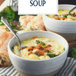 Side shot of bowl of Chicken and Gnocchi Soup with text title overlay