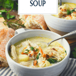 Side shot of Olive Garden Chicken Gnocchi Soup in a bowl with text title overlay
