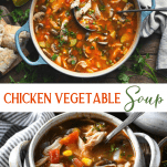 Long collage image of chicken vegetable soup