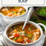 Front shot of two bowls of southern chicken vegetable soup recipe with text title box at top