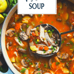 Overhead shot of a pot of chicken vegetable soup with text title overlay