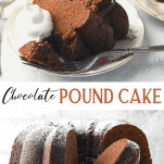 Long collage image of chocolate pound cake