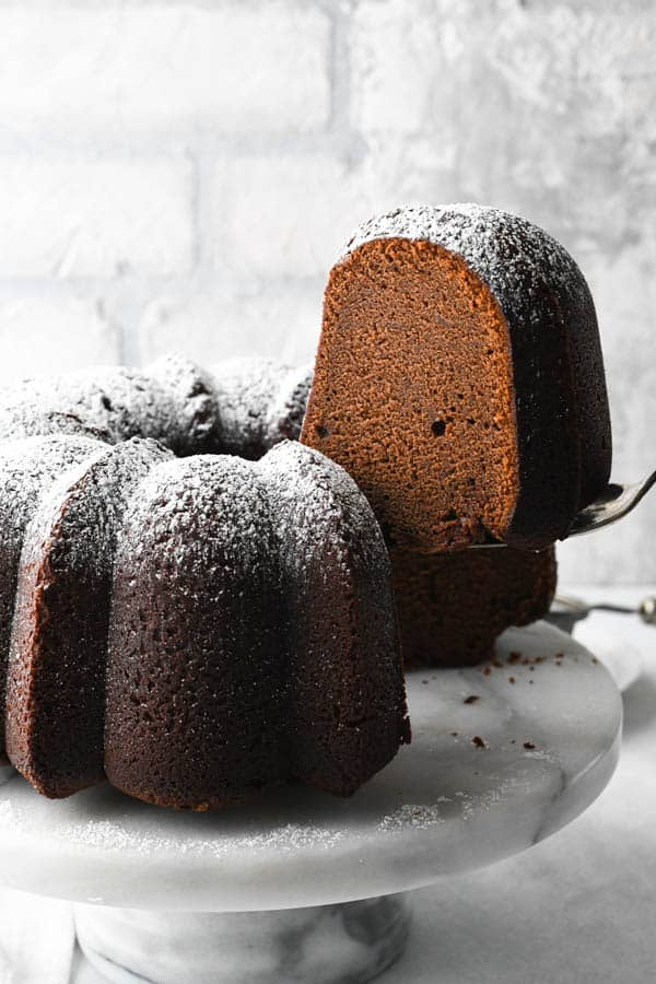 Serving a slice of the best Southern Chocolate Pound cake recipe