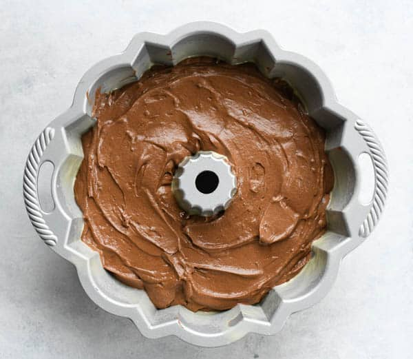 Southern chocolate pound cake recipe in a bundt pan before baking