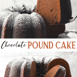 Long collage image of Southern Chocolate Pound Cake recipe