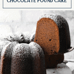 Serving a slice of chocolate pound cake with text title box at top
