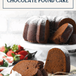 Slices of chocolate fudge pound cake on small plates with text title box at top