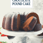 Side shot of a sliced homemade chocolate pound cake with text title overlay