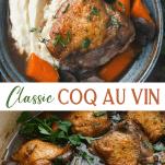 Long collage image of Coq au vin