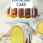 Piece of vintage pistachio cake with text title overlay