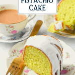 Slice of glazed pistachio pudding cake with text title overlay