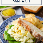 Old fashioned egg salad sandwich recipe on a plate with text title box at top