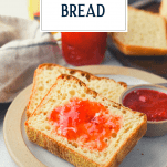 Front shot of English muffin bread toast with text title overlay