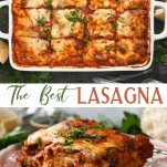 Long collage image of homemade lasagna