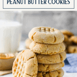 Stack of soft peanut butter cookies with text title box at the top