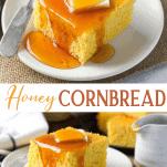 Long collage of honey cornbread