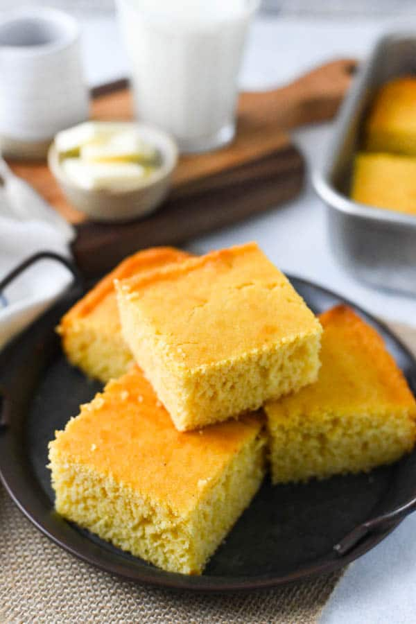Plate of homemade honey cornbread recipe that's better than a box of Jiffy
