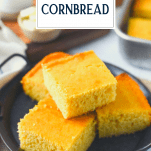 Plate of honey cornbread with text title overlay