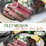 Long collage image of how to cook filet mignon in a cast iron skillet