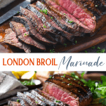 Long collage image of london broil marinade