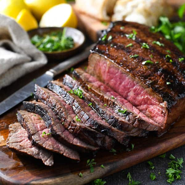 Square shot of sliced marinated london broil