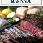 Best london broil marinade with text title box at the top