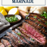 Side shot of sliced grilled london broil with text title box at top