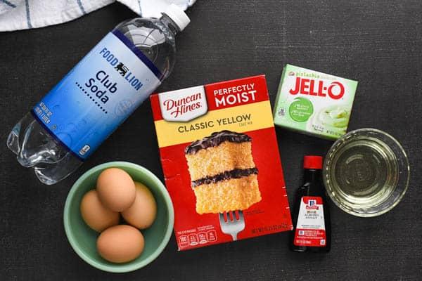 Overhead shot of vintage pistachio cake ingredients
