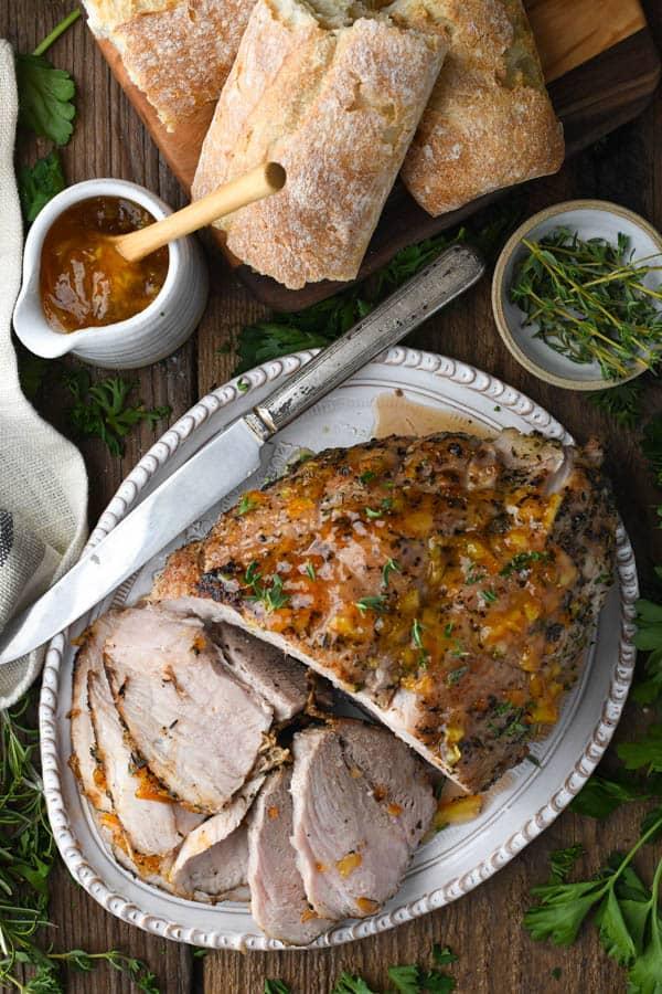 Overhead shot of pork sirloin roast on a serving platter