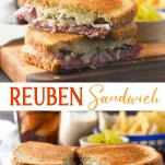 Long collage image of Reuben Sandwich