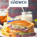 Classic reuben sandwich on a plate with text title overlay