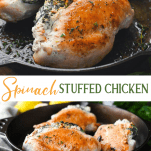 Long collage image of spinach stuffed chicken