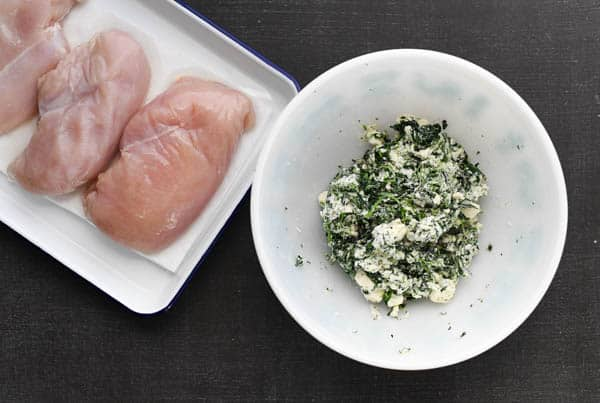 Overhead image of ingredients for spinach stuffed chicken