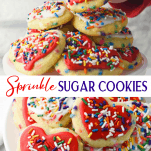 Long collage image of sprinkle cookies