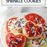 Plate of sugar cookies with sprinkles and text title box
