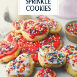 Front shot of sugar cookies with rainbow sprinkles and text title overlay