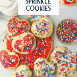 Overhead shot of sprinkle cookies on a white table with text title overlay