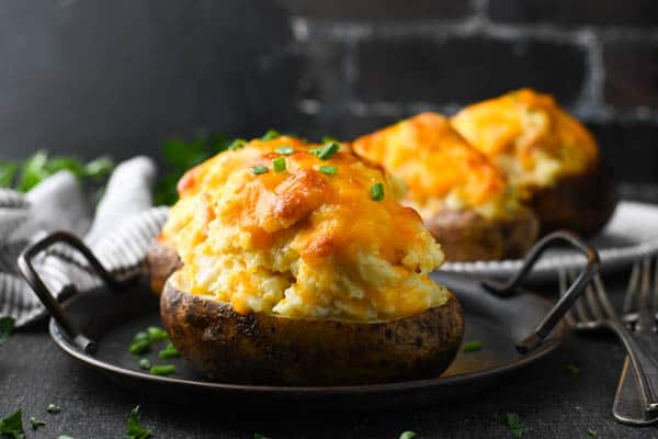 Horizontal shot of the best twice baked potato recipe